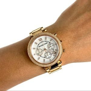 Michael Kors Women's Watch in White and Gold